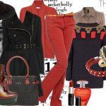 kırmızı pantolon kombin modeli