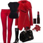 kırmızı pantolon siyah bluz kombin modeli