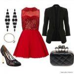 kırmızı payetli elbise kombin modeli