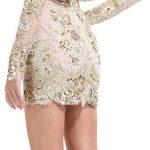 krem sırt dekolteli gece elbise modeli
