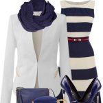 mavi beyaz elbise kombin modeli