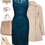 mavi dantel elbise kombin modeli