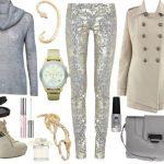 parlak pantolon ve kazak kombin modeli