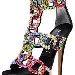 renkli zincir detaylı stiletto modeli