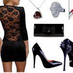 sırt dekolteli elbise kombin modeli