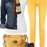 sarı beyaz pantolon kombin modeli