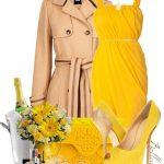 sarı elbise kombin modeli