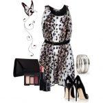 siyah beyaz desenli elbise kombin modeli