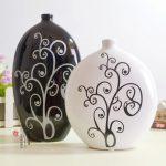 siyah beyaz ikili dekoratif vazo modeli