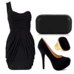 siyah drapeli elbise kombin modeli