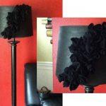 siyah gül detaylı abajur modeli