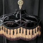 siyah kadife abajur modeli