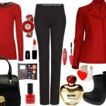 siyah pantolon kırmızı bluz kombin modeli