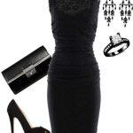 siyah sade elbise kombin modeli