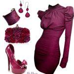 vişne rengi elbise kombin modeli
