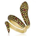 yılan figürlü sarı taşlı yüzük modeli