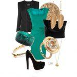 yeşil elbise kombin modeli