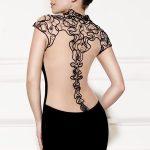 sırt dekolteli önişlemeli siyah abiye gece elbisesi yakından görünüm