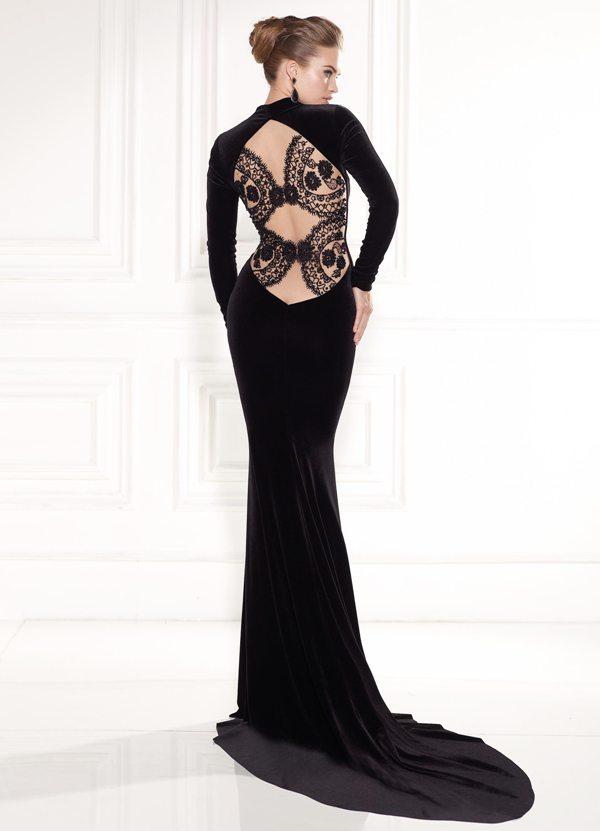 63d9a621d8a7a siyah kadife sırt dekoltesi dantelli alımlı abiye elbise modeli ...
