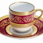 Bordo porselen altın yaldızlı türk kahvesi fincanı