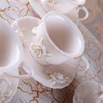 Güllü Porselen Krem Kahve Fincanı