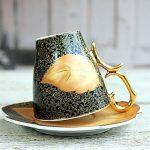 Siyah altın yaldız yaprak desenli kahve fincanı