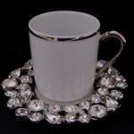 gümüş yaldızlı taşlı porselen kahve fincanı