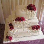 kare 3 katlı düğün pastası