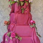 pembe meyveli düğün pastası