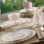 aryıldız pembe gül desenli porselen yemek takımı
