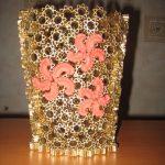 dekoratif makarna ile yapılmış vazo