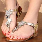 altın yaldızlı yıldızlı sandalet