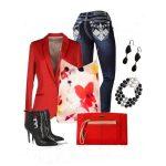 jean kırmızı ceket kombin
