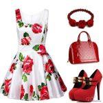 kırmızı çiçekli elbise ve kombini