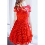 kırmızı dantel elbise