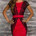 kırmızı siyah dabtelli elbise