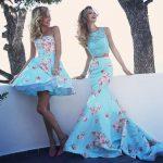 mavi pembe çiçekli mini ve uzun elbise