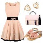 pudra şeftali elbise ve kombini
