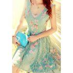 turkuaz pembe çiçekli elbise